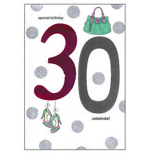 Age Birthday Card with Envelope Shiny Number Design - Pink 30th