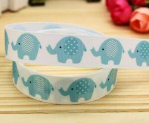 "ELEPHANT Grosgrain RIBBON 1m x 22mm width (7/8"") baby cake animal cupcake babies"