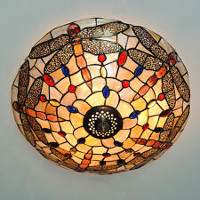 Tiffany Style Retro Dragonfly Stained Glass Chandelier Flush Mount Ceiling Light