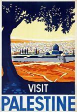 "Vintage Illustrated Travel Poster CANVAS PRINT Visit Palestine 24""X36"""
