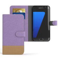 Tasche für Samsung Galaxy S7 Edge Jeans Cover Handy Schutz Hülle Lila