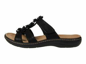 Clarks Laurieann Judi Black Women's Comfort Floral Slide Sandals 59341