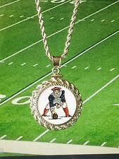 NFL NEW ENGLAND PATRIOTS NECKLACE w MATCHING STERLING SILVER ROPE BEZEL & CHAIN