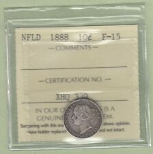 1888 Newfoundland 10 Cents Silver Coin - ICCS Graded F-15