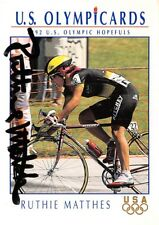 US Olympic Cards Implel 1992 #33 Ruthie Matthes Cycling Autograph Card