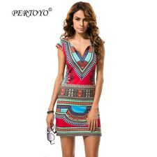 PERTOYO Women Dashiki Dress 2017 Ladies Short V-Neck Sexy African Dresses Tradit