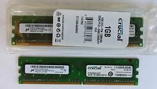 CRUCIAL 1GB UDIMM DDR2 240 PIN 128MX64 PC2-6400 UNBUFF CL6 NON ECC