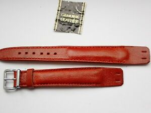 VINTAGE 1940S 16MM OPEN ENDED GENUINE PADDED  WATCH STRAP NEW OLD STOCK RARE