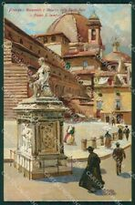 Firenze città Piazza San Lorenzo cartolina QT4975