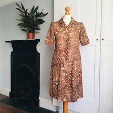 Vintage 70s Brown White Psychedelic Print Pleated Short Sleeve Shirt Dress 8