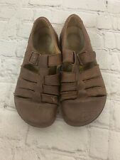 Birkenstock Leather Brown Fisherman Sandal Closed Toe Woven Mens 8 Ladies 10