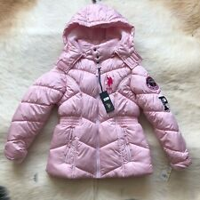 Us Polo Association Girls' Big Bubble Jacket with Hood, Pink, M 10-12 Years
