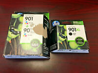 3PK New Genuine HP 901XL Black & HP 901 Color Ink Cartridges SEALED Expired
