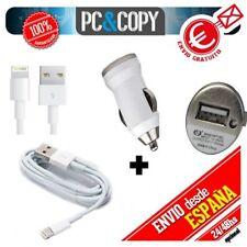 Cargador mechero coche 1A + cable USB blanco para iPhone 5 5S 6 iPad Air Mini