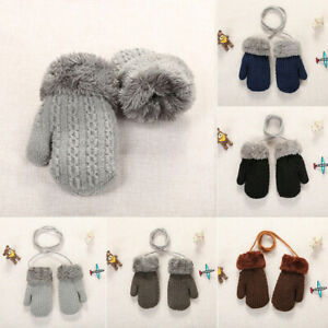 Winter Toddler Kids Boy Girl Cute Soft Knitting Mittens Patchwork Warm Gloves