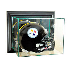 WALL MOUNT UV REAL GLASS FULL SIZE FOOTBALL HELMET DISPLAY CASE BLACK WOOD