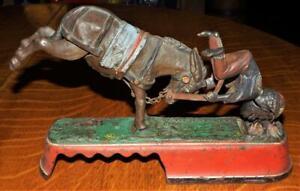 NR ! Antique 1879 J&E Stevens Always did Spise a Mule Cast Iron Mechanical Bank