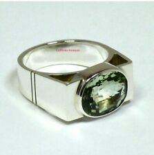 Natural Green Amethyst  Gemstone With 925 Sterling Silver Ring For Men's
