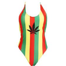 HOT,  Jamaican Rasta Colour Stripe One piece Swimsuit  ..One Size...XL-12-14