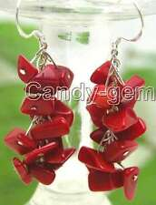 SALE 40mm long Dangle grape Red Coral earrings with Stering Silver 925 hook-e128