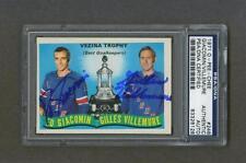 Ed Giacomin & Gilles Villemure signed Vezina Trophy 1970-71 OPC Hockey card Psa