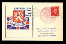 CZECHOSLOVAKIA 1941 ARMY + AIRFORCE ILLUSTRATED CARD...WARWICK MACHINE to LONDON