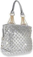 Womens Rhinestone  Bling Fashion Handbag Tote(silver)