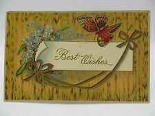 Vintage 1912 Best Wishes Butterfly & Flowers Postcard
