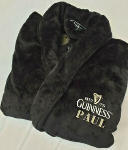 PERSONALISED Guinness Mens Gents LUXURY Fleece Dressing Gown Black