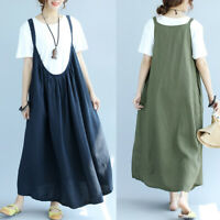 Women's Suspender Skirts Dress Oversize Summer Long Shirt Dress Maxi Dress Plus