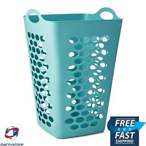 Mainstays Flexible Square Teal Plastic Laundry Hamper Basket w/ Handles & Holes