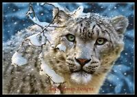 Snow Leopard II - DIY Chart Counted Cross Stitch Patterns Needlework 14 ct DMC