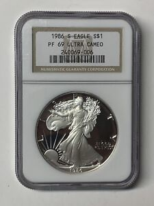 1986-S US Silver Eagle Ultra Cameo Proof Coin First Year of Issue NGC PF69