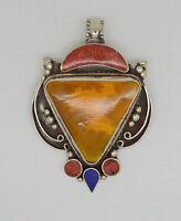 Asian Fashion  Ethnic Handmade Sterling Silver Pendant Turquoise Tribal  HHk2