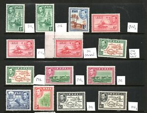 Fiji George VI Mounted Mint Collection Perfs for 1938 issues given