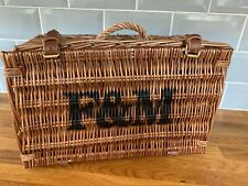 FORTNUM & MASON, F & M WICKER HAMPER / PICNIC BASKET, genuine, storage, handle
