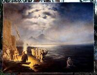 altes Ölgemälde Blick auf den Vulkan C.Lukowitz 90 x 70 erlesene Künstlerarbeit
