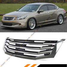 For 2008-10 8th Gen Honda Accord 4dr Sedan VIP Chrome Blk Horizontal Front Grill