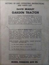 David Bradley Sears 9175752 Walk Behind Garden Tractor Owners Amp Parts Manual