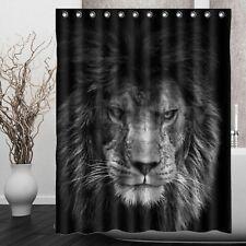 "60x72"" Lion Waterproof Bathroom Polyester Fabric Shower Curtain Panel W/12 Hooks"