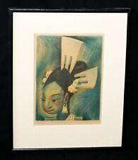 "1934 Mexico Hawaii Print 4/17 ""Girl w. Combs"" by Jean Charlot (1898-1979) (Taf)"