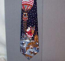 "Stafford SANTA ON BALLOON LADDER Holiday 55"" Silk Neck Tie made in USA #693"