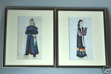 2 ANTIQUE CHINESE CHINA QING DYNASTY WATERCOLOR PAINTING PITH ALBUM 1850