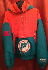 XL Vintage MIAMI DOLPHINS Insulated Pullover Jacket NUTMEG Campri MADE IN USA