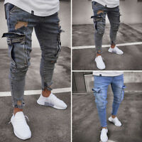 AU Men's Ripped Skinny Biker Jeans Destroyed Frayed Slim Fit Denim Pant Trousers