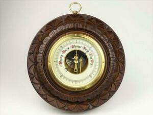 Antique Carved Wooden Lufft Aneroid Barometer - Working Order