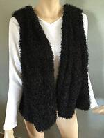 BNWT Womens Sz 26 Autograph Brand Soft Fuzzy Black Folk Style Lined Vest RRP $70