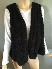 BNWT Womens Sz 16 Autograph Brand Soft Fuzzy Black Folk Style Lined Vest RRP $70