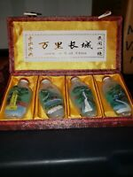 "4 vintage snuff bottles with reversed handpainted ""Great Wall Of China"""
