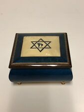 Jewish Star Of David Romance Blue Music Box Italy Swiss Movement Plays Hatikvah!